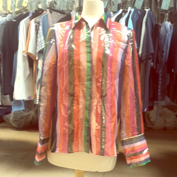 31233f72f86a0 Alice and Olivia rainbow striped blouse.